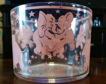 Vintage Hazel Atlas Pink Elephant Ice Bucket