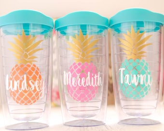 Pineapple Tumbler, Pineapple Cup, Beach Tumbler, Pool Tumbler, Weekend Getaway Tumblers, Southern Preppy cup, Girls Weekend Cup, monogram