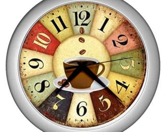 Retro Wall clock vintage coffee image Wall  decor multicolor