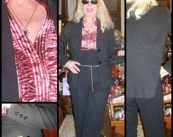 Original Vintage 1980's black and white pin-dot microfibre 3 piece business pantsuit by Jane Lamerton (blouse, pants & jacket) size: medium
