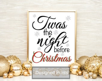 """Twas The Night Before Christmas Printable Wall Art, Christmas Quote Print, Printable Quote Home Decor Instant Download 8""""x10"""""""