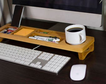 Alder Wood Desk Organizer Desktop Shelf Office & Home Keyboard Rack Wooden Desktop Storage Accessories
