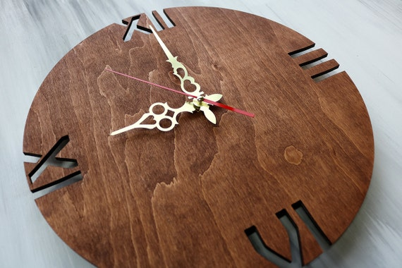 Modern Wall Clock Wood Wall Clock Home Clock Rustic Wall