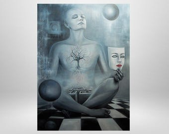 Meditation, imagination, universe, original oil painting, surrealism, symbolism, Gemälde.mystisch, mask, labyrinth, OMO, esotericism, art print