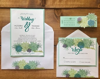 Succulent Wedding Invitations // Summer Wedding Invitations // Custom Wedding Invitations