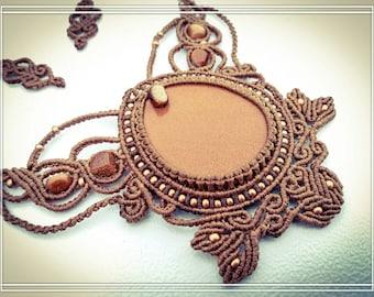 Large Goldstone Micro Macrame Necklace.