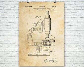 Microscope Poster Patent Art Print Gift, Science Art, Microscope Patent, Biology Gift, Biologist Gift, Science Gift, Scientist Gift