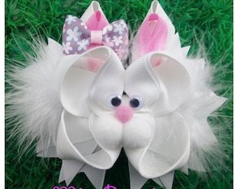 Easter Hair Bow, Bunny hair bow, Easter girl bow, Easter outfit, Bunny Hair Bow, Spring Hair Bow, Ready to Ship