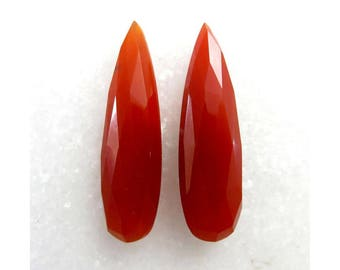 Carnelian Awesome Pear Shape Cut, 30X10X6mm, 28Cts, Jewelry Making, Semi Precious, Carnelian 2 Pieces Pair Faceted Loose Gemstone, B-13204