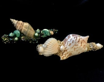 Sea shell hair clip, beach wedding, mermaid hair clip,