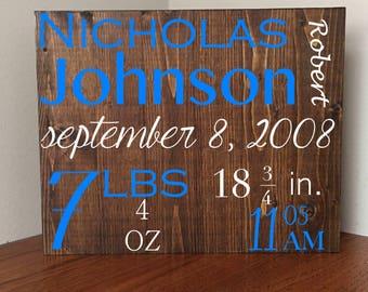 Birth Announcement Wall Art//Birth Announcement Sig//Baby Name Sign//Newborn Birth Sta//Baby Name Art//Baby Gift//Nursery Decor