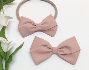 Pink baby bow - Dusty Rose - baby bow - Clip or Headband