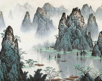 Chinese traditional landscape painting,home decor, Asian art, abstract, wall art, BXS19