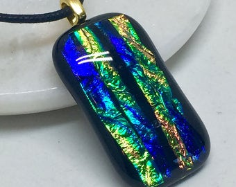 Necklace – Green, Purple, Gold & Copper Dichroic Glass
