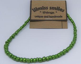 4mm Metallic Green Glass Beads