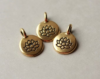 TierraCast Charm, Antique Gold Plated Pewter, Lotus Charm, Floral Jewelry Component, Yoga Jewellery Component, Lotus Pendant