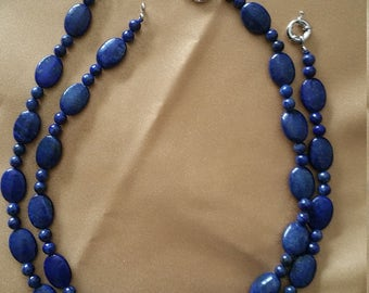 Carved Lapis Lazuli Bead Necklace Strands