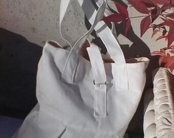 White cotton canvas bag shoulder bag hand bag