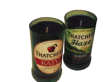 Upcycled, repurposed  Cider bottle candles