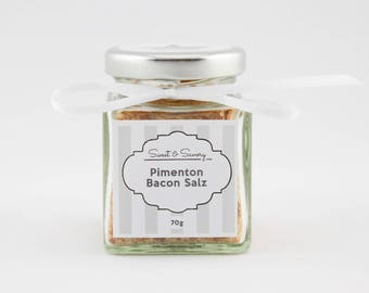 Bacon Pimenton salt, paprika Bacon Salz, salt, gourmet salt 70 g, ideal as a gift for grilling cooking for him and her