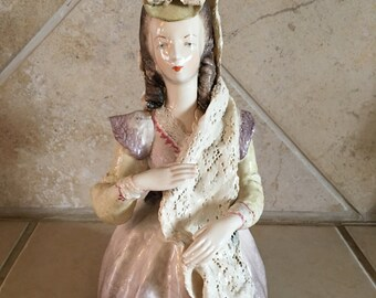 Vintage Cordey Porcelain Lace Bust Sculpture - Hand Painted Figurine - Victorian Lady with lace shawl - Product # 5059