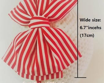 bow headband,cute headband,cotton headband,Red & White Striped Cotton bow headband,red headband