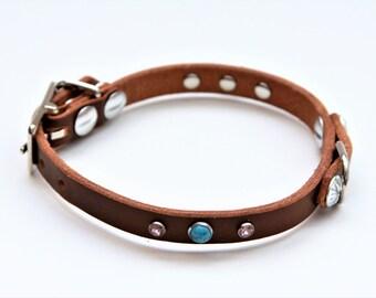X-Small Genuine Leather Dog Collar (DarkBrown) 12''