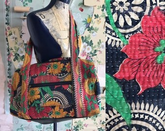 Vintage Indian Cotton Floral Duffle Bag. Overnight bag. Red, green, yellow, lined.
