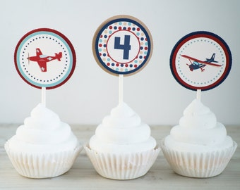 Vintage Airplane Cupcake Toppers, Airplane Cupcake Toppers, Antique Airplane Toppers, Airplane Birthday,  Cupcake Toppers- SET OF 12