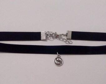 Black Velvet Yin Yang Charm Choker Necklace Boho Choker Necklace