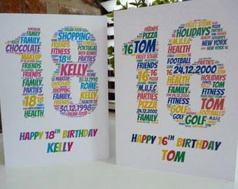 Personalised 18th/16th Birthday Card , 18th/16th Card, Special Card, Personalised Birthday Card, 18th Birthday Card, 16th Birthday Card