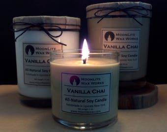 Vanilla Chai Handmade Scented Soy Candle |  Hand Poured Candle | Chai Candle | Cafe Scent | Natural Candle | Sweet Scent | Tan Candle