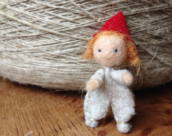 Little Waldorf Gnome Child - Miniature Wool Felted Waldorf Doll - Felted Gnome