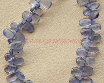 Gorgeous 9 Inch Strand, Natural Iolite Pear, Iolite Faceted Pear Shape Briolettes, 10-12 MM, Water Sapphire Beads, High Quality