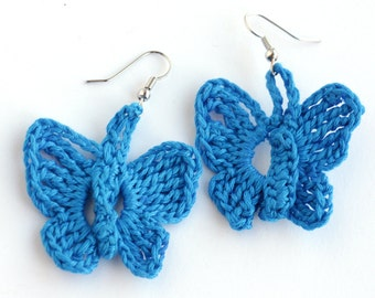 Blue Butterfly Earrings, Henna Inspired Lace Filigree Jewelry, Funky Earrings, Boho Glam Jewelry, Made in NC by Refugees