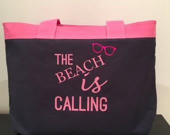 The beach is calling beach bag, beach tote, canvas beach bag