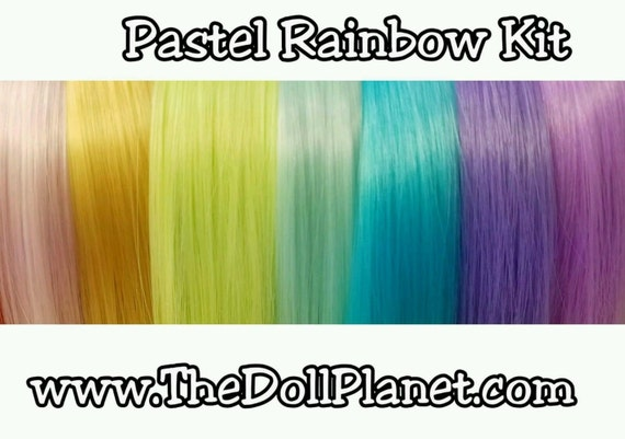 Pastel Rainbow Doll Hair Rerooting Kit 7 Hanks of Hair Root OOAK Ever After High Monster High Barbie Sindy My Little Pony Dawn Fashion Doll