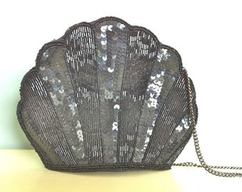 On Hold for a very nice lady - please do not purchase. Black Beaded and Sequence Evening Bag/Black Clamshell Evening Bag/Sequence Purse