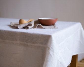 SALE! Snow white linen tablecloth / 145 X 280 cm / natural linen