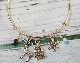 Elsa and Anna Inspired Bracelet, Frozen Jewelry, Snowflake Jewelry, Fantasy Jewelry, Fairytale Jewelry, Princess Jewelry, Sister Jewelry