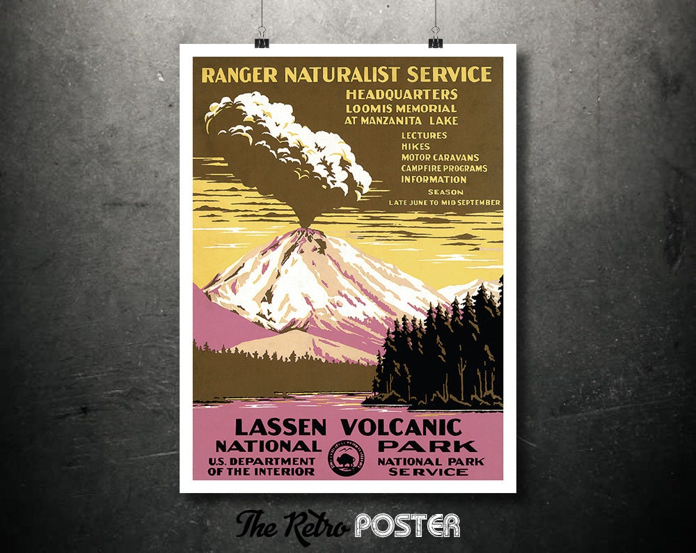 lassen volcanic national park poster ranger naturalist. Black Bedroom Furniture Sets. Home Design Ideas