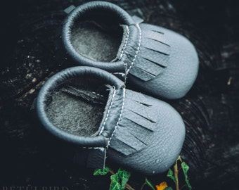 Leather Baby Moccasin in Grey