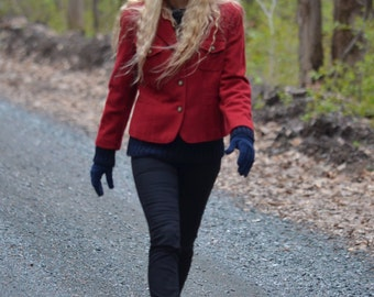 Add FOREVER15 Code for 15% + reduced SHIPPING!  Red wool Blazer size: 10