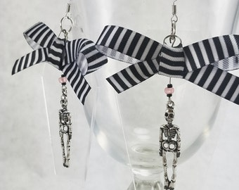 OOAK - Creepy Cute Skeletons And Striped Bow Acrylic Coffin Hook Earrings - Lolita - Psychobilly
