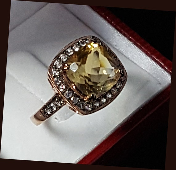 Genuine Citrine 925 Sterling Silver Rose Gold Plated Ring