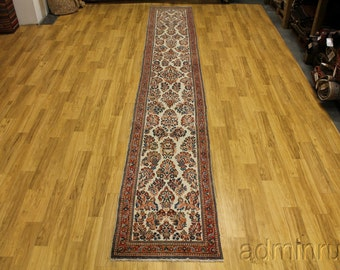 Ivory Sarouk Persian Palace Long Runner Oriental Rug Runner Carpet 2u00278X17u00278