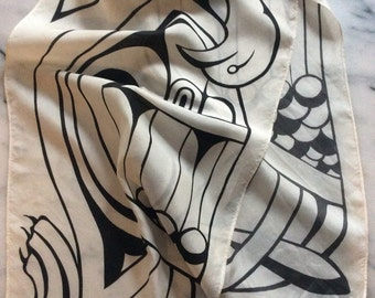 Vintage Frances Sanderson Black & White Celtic Hand Painted Silk Scarf