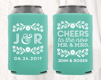 Personalized Wedding Can Cooler | Customized Wedding Can Cooler | Fiesta Wedding Favors, Beverage Insulators, Beer Huggers| Rehearsal Dinner