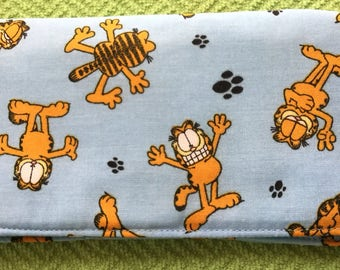Lovable Garfield on a baby blue background checkbook cover, checkbook holder, check organizer, check book, wallet, accessories