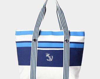 Striped Anchor Beach Bag- nautical beach bag